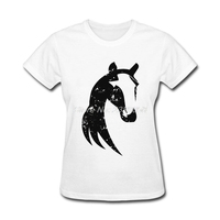 Hot Sale New Coming Women T Shirt Brand Grungy Tribal Horse Women Tee Shirts Printing Short