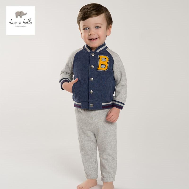 купить DB3557 dave bella spring baby boys sports clothing sets polo sets infant clothes toddle polo children football sets kids cloth недорого