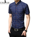 Men Shirt Short Sleeve Plus Size 2016 New  Brand Spring&Summer Man Fashion Cotton Shirts Slim Fit Plaid Shirt Chemise  Z2399