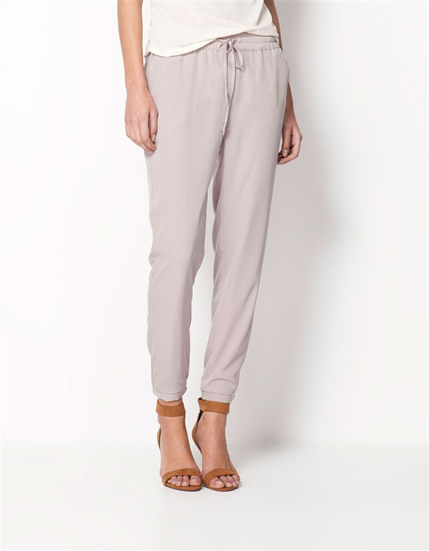 Chiffon Elastic Waist Solid Color Office Pants 4