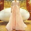 RF3 Elegante Lace Manga Comprida Frisada Rosa Vestido de Noite