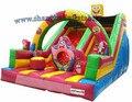 2016 juegos para niños barato tobogán inflable gigante comercial, diapositiva de salto inflable precio de fábrica