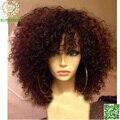 Короткие Парики Человеческих Волос Вьющиеся Virgin Перуанские Реми Волос Полный Шнурок парик Кудрявый Вьющиеся Парик С Челкой Отработку Волосы Кружева Перед Парик