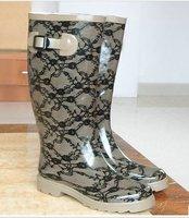 бесплатная доставка, eurameican ретро кружево печать вкус женская резиновые сапоги, дождь загрузки, женщина туфли