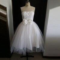 White Dot Tulle Knee Length Vintage 50S Wedding Dresses Short Cap Sleeves Bowknot At Back Sleeveless
