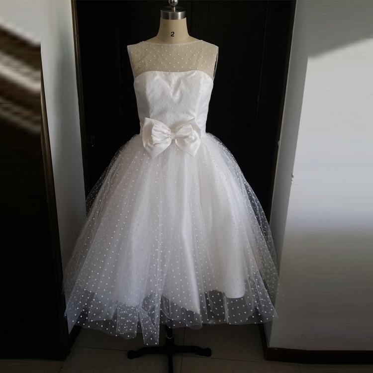 Vintage Wedding Dresses With Cap Sleeves: White Dot Tulle Knee Length Vintage 50S Wedding Dresses