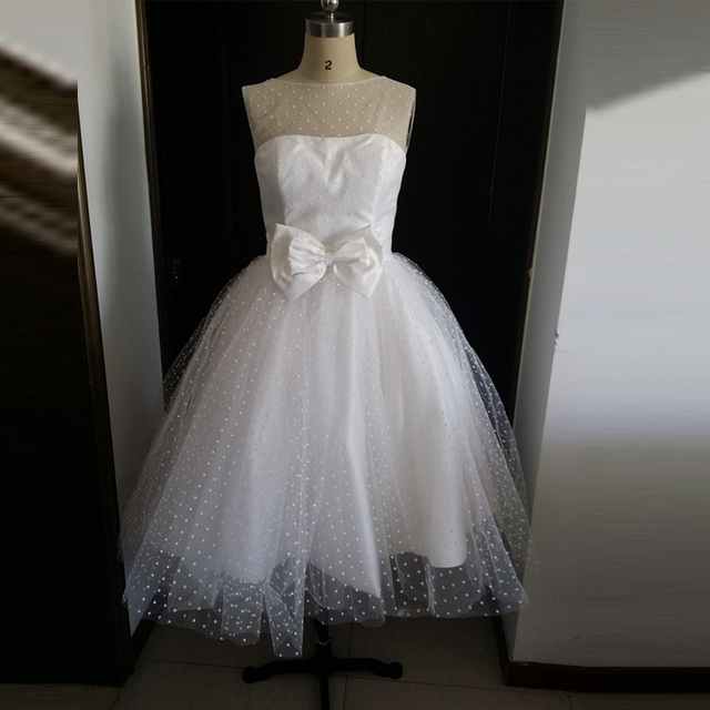 Aliexpress.com : Buy White Dot Tulle Knee Length Vintage 50S ...