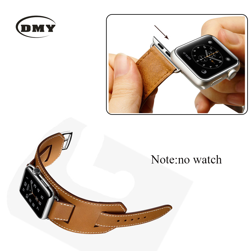 1:1 Original Design Cuff Bracelet Genuine Leather Band For Apple Watch Band Wide Wrist Strap For iWatch With Adapters 38MM 42MM 38 42mm leather strap cuff bracelet watch bands for apple watch for iwatch 5 colors new hot selling