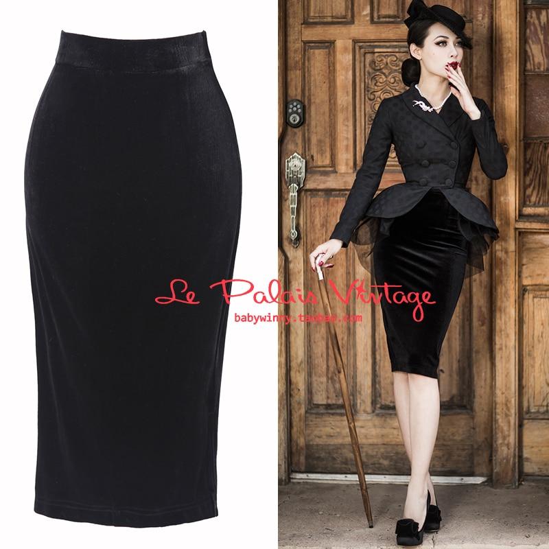 7f9826ce0df 25 le palais vintage women 50s black velvet high waist wiggle pencil skirt  plus size saia pinup faldas elegant office skirts-in Skirts from Women s  Clothing ...