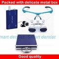 2016 caixa De Metal recarregável led light magnifier 2.5X dental cirurgia lupa óptica lente