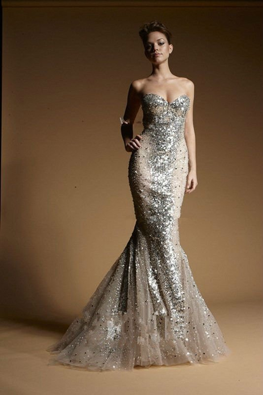 Silver Sequins In Nude Evening Gown From Zuhair Murad With Multi ...