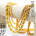 High quality 24k Gold plated Necklace 76~90cm long Twist Chain Fashion Hiphop Necklace Rope Chain men jewelry bijouterie 2016