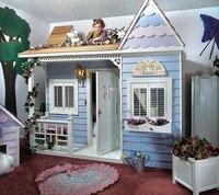 Роскошные Европейский Американский стиль Принцесса замок кровать детская мебель деревянный дом кровать детская двухъярусная кровати с ле