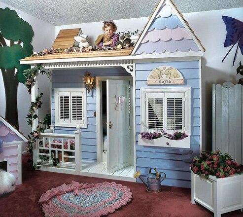 Роскошный Европейский Американский стиль Принцесса замок кровать детская мебель деревянный дом кровать детская двухъярусная кровать с ле