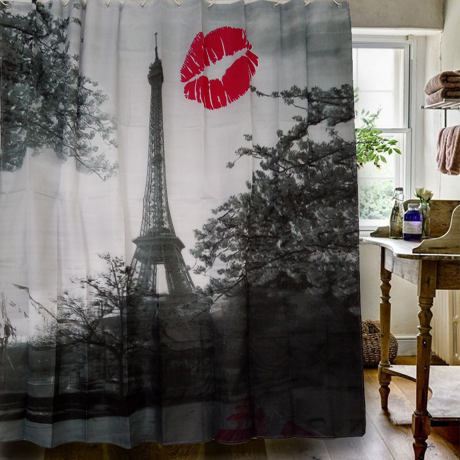 Eiffel Tower Shower Curtain Design Pattern 180x180CM Waterproof Polyester  Fabric Shower Curtains For Bathroom With 12HOOKS