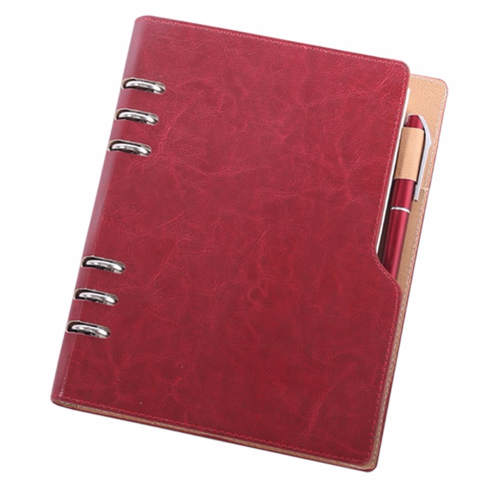 A5 6 Rings PU Leather Loose Leaf Business Round Ring Binder Cover Notebooks 90 Sheets With a Exposed Pen Inserted kitlexc7702ksunv20962 value kit lexmark c7702ks toner lexc7702ks and universal round ring economy vinyl view binder unv20962