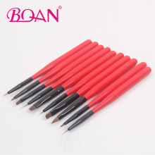 BQAN Factory New Design Red color Nail Brush set wood handle,  Mini Nail Brush set 10pcs/set