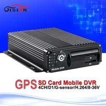 cctv security surveillance car dvr h.264 gps tracker 4ch mobile digital video recorder with sd night vision cyclic recording