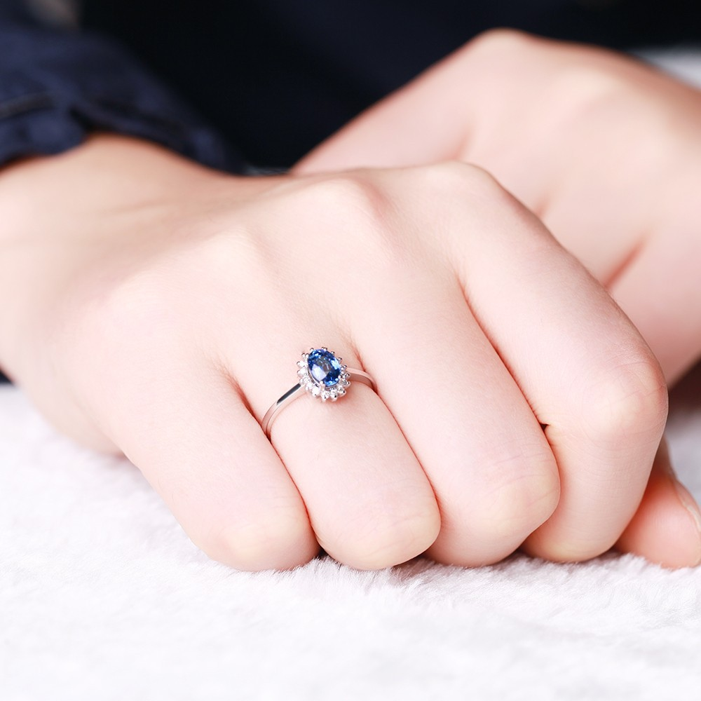 GVBORI Classic 18K White Gold Sapphire Diamond Wedding Ring For ...