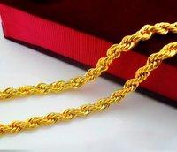 70 см большой 24 к позолоченные супер длинные цепи, бесплатная доставка / оптовая продажа красивый мужской твист золотая цепь ожерелье. с002