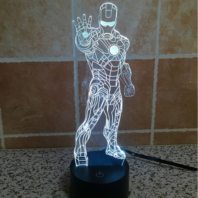 Holiday Lamp Colorful LED Lamp Stand Iron Man Mood Lamp 3D ...