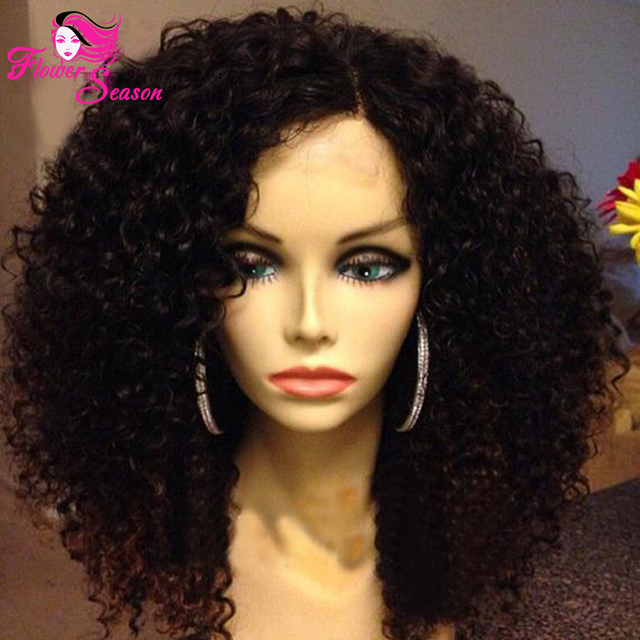 Virgin Brazilian Afro Kinky Curly Wig Glueless Full Lace 150% Density Kinky Curly Wig Human Hair Lace Front Wig For Black Women
