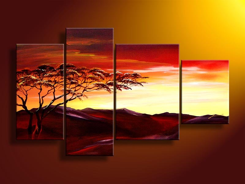 Hand Paintedmetal Wall Art Warm Color Peak Bf Sun Tree Decoration Abstract Landscape Oil Painting On Canvas 4pcs Set Frame In Calligraphy From
