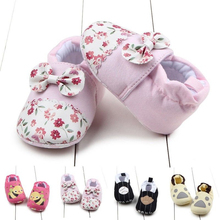 Newborn Toddler Baby Girls Cotton Soft Sole Crib Shoes Anti-slip Prewalker 0-12M