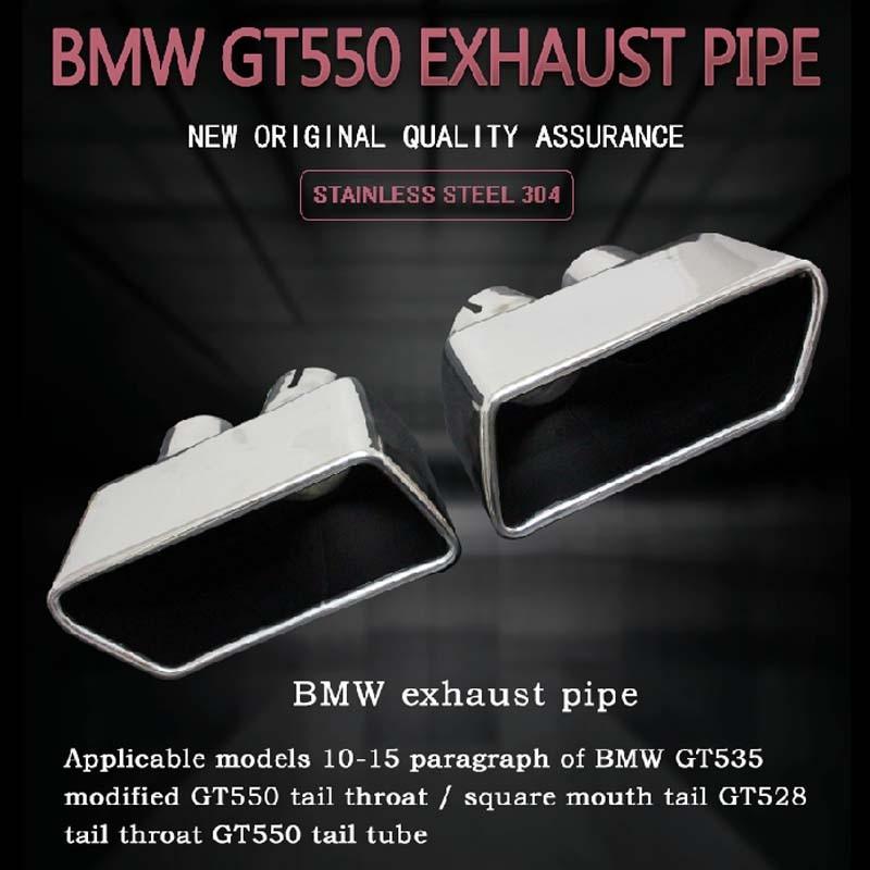 Un Par de acero Inoxidable directa en forma de escape silenciador tubo punta para BMW GT550 GT535 GT528 F07 estilo de coche