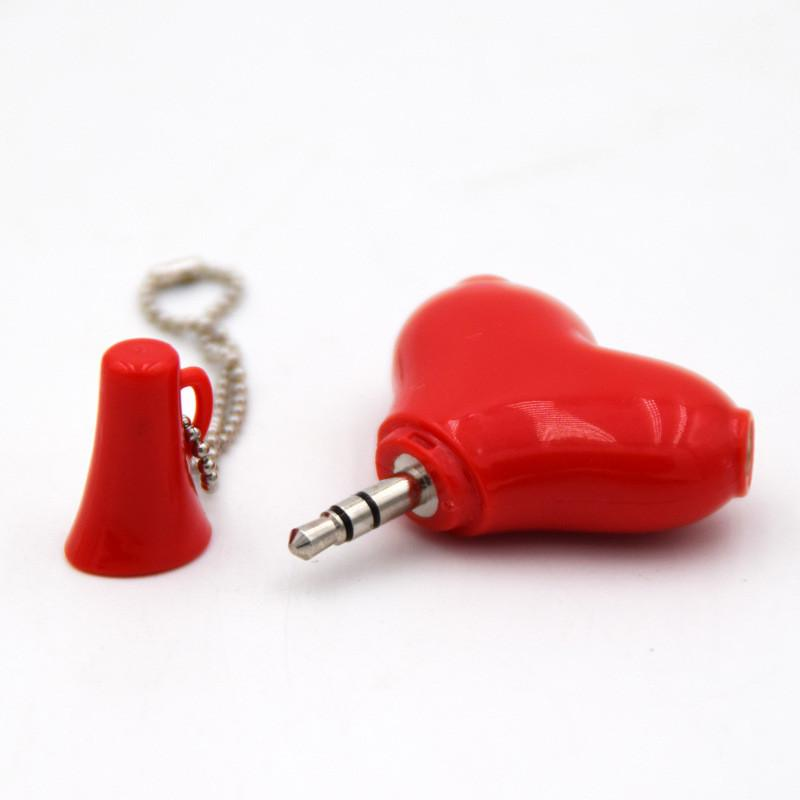Newest heart spade Cute 3 5mm Stereo Audio Headset Heart Shape Headphone Splitter Connector Adapter lovers