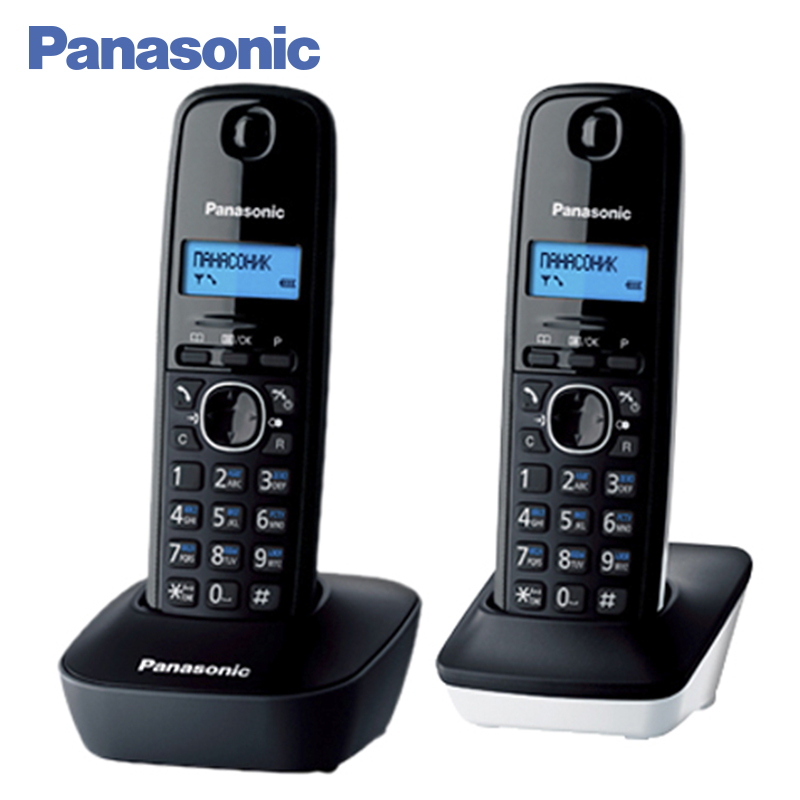 Panasonic KX-TG1612RU1 DECT phone, 2 Handset, digital cordless telephone, wireless phone System Home Telephone. panasonic kx tg2512ru2 dect phone additional handset included eco mode time date display communication between handsets
