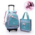 6 nylon impermeable bolso de la carretilla ruedas Extraíbles niños schoolbag grados 3-6 niñas BOLSAS mochila hombro agobia bolsas de libros