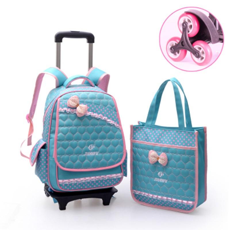 Waterproof nylon 6 wheels trolley bag Removable schoolbag children grades 3-6 girls BAGS backpack shoulder burdens book bags