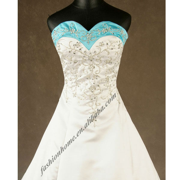 Free Shipping Chapel Train Embroidery Light Blue White Wedding