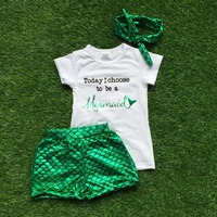 Bébé filles d'été boutique de vêtements vêtements enfants sirène tenues fille aujourd'hui Je choisir à être une sirène tenues avec bandeau