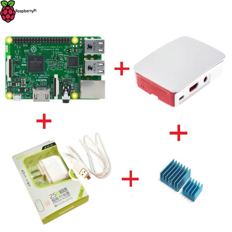 Prix pour 2016 Raspberry Pi 3 modèle B 1 GB RAM 1.2 GHz Quad - Core ARM 64 bocado CPU avec officiel Case + alimentation chargeur + dissipateur de chaleur livraison gratuite