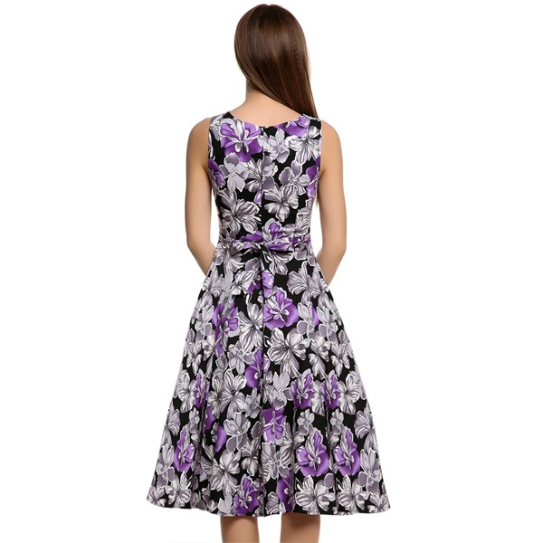 ACEVOG Women Dress Retro Vintage 1950s 60s Rockabilly Floral Swing Summer Dresses Elegant Bow-knot Tunic Vestidos Robe Oversize 16
