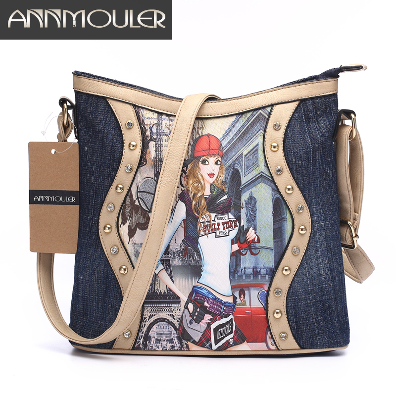 Annmouler Brand Women Bag Patchwork Ladies Messenger Väskor Fashion Denim Shoulder Bag Cartoon Printing Crossbody Bag Zipper