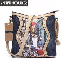 Annmouler Brand Women Bag Patchwork Ladies Messenger Bags Fashion Denim Shoulder Bag Cartoon Printing Crossbody Bag Zipper