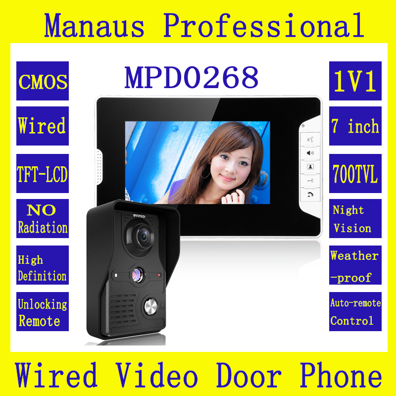 New 7 inch LED Display Video Door Phone System 1 Night Vision Ultra HD Camera 1 Multi-language Monitor Video Intercom Kit D268b diysecur 7inch hd screen video door phone intercom hd outdoor unit camera night vision system 1 camera 1 monitor v70t f
