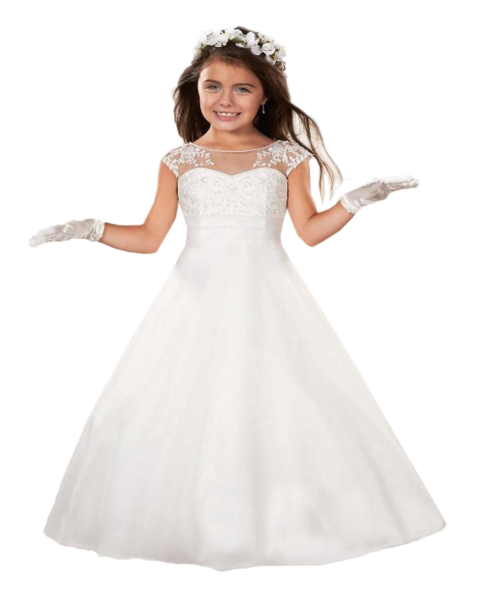 formal beading princess scoop tank white communion dress girls vestidos de communion first holy. Black Bedroom Furniture Sets. Home Design Ideas