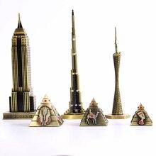 Home decoration supplies metal crafts world architecture model Canton Tower Burj Khalifa Empire State Building Bar ornaments