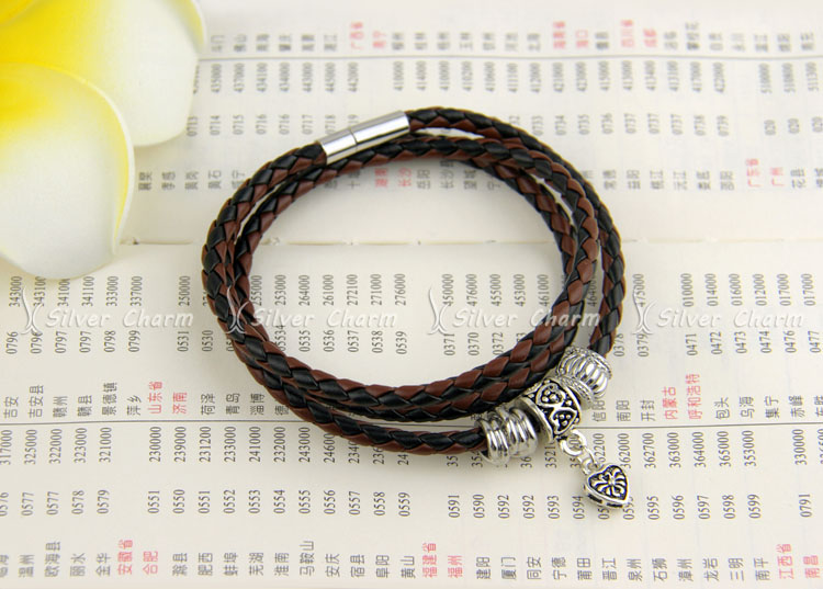 Newest Arrival Silver Charm Black Leather Bracelet for Women Five Colors Magnet Clasp Christmas Gift Jewelry PI0311 UT8zumzXn4cXXagOFbXg