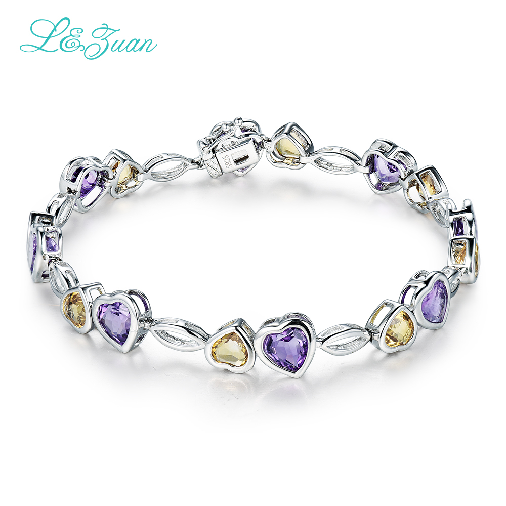 L&zuan 925 Sterling Silver 6307ct Natural Amethyst Purple Stone Heart Bracelet  Jewelry For Women Party