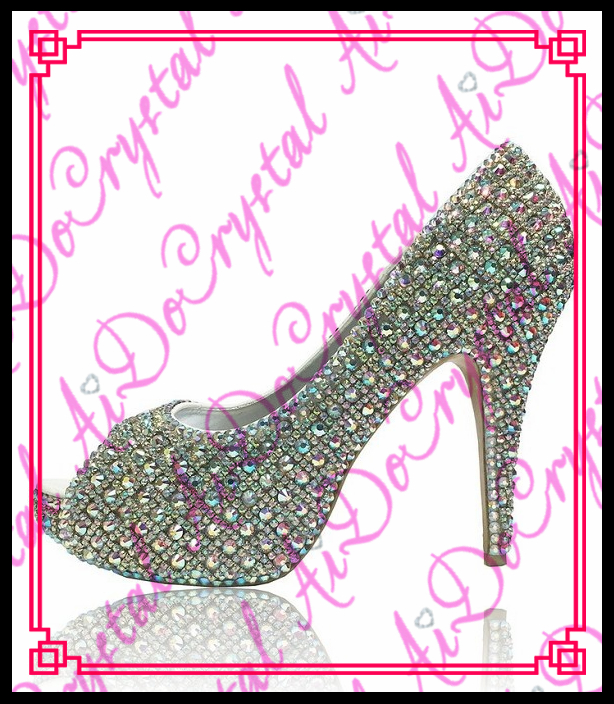 Aidocrystal italian latest new design china fancy nice AB color fashion high heel lady peep toe shoes 2017 new coming italian fashion black ab