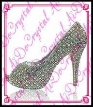 Aidocrystal italienische neuesten neues design china phantasie schöne AB farbe fashion high heel lady peep toe schuhe