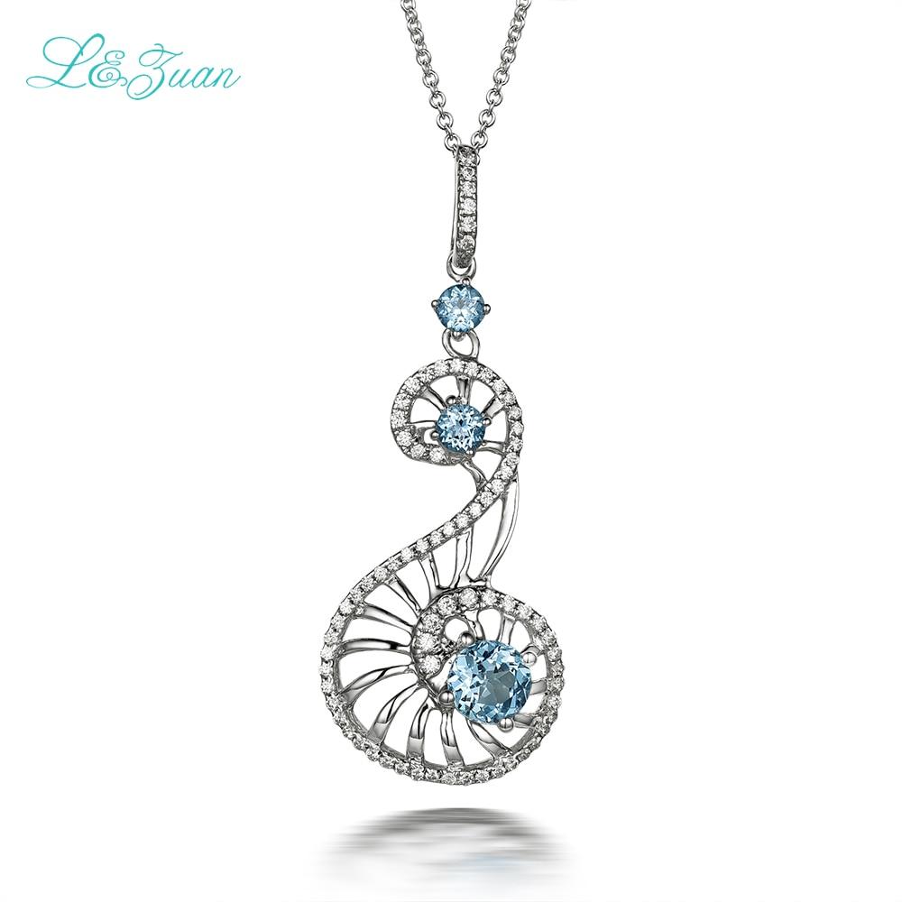 I & zuan 925 argent Sterling 100% naturel 0.78ct bleu pierre de topaze pendentif collier pour femmes simple bijoux fins accessoires