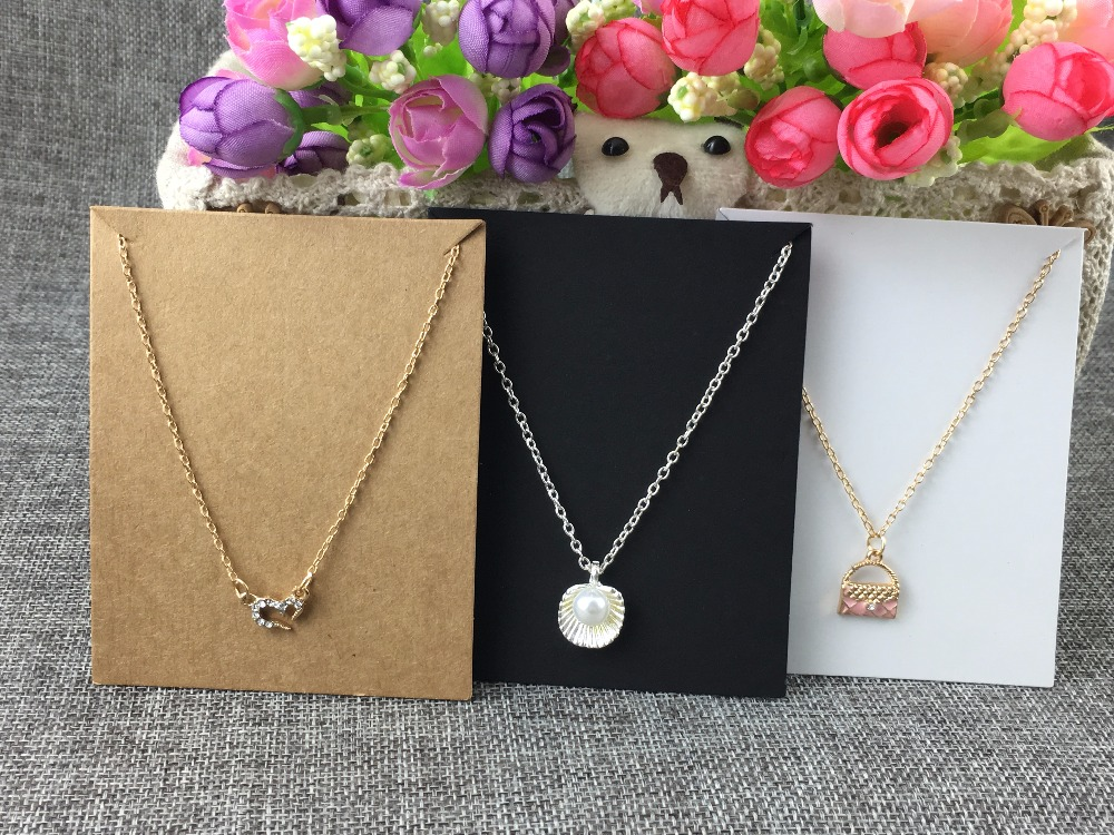 10*8cm 100pcs/lot Kraft Cardboard Blank Jewelry Fashion Necklace Cards Kraft Paper Displays Card Accept Custom Logo MOQ:1000pcs