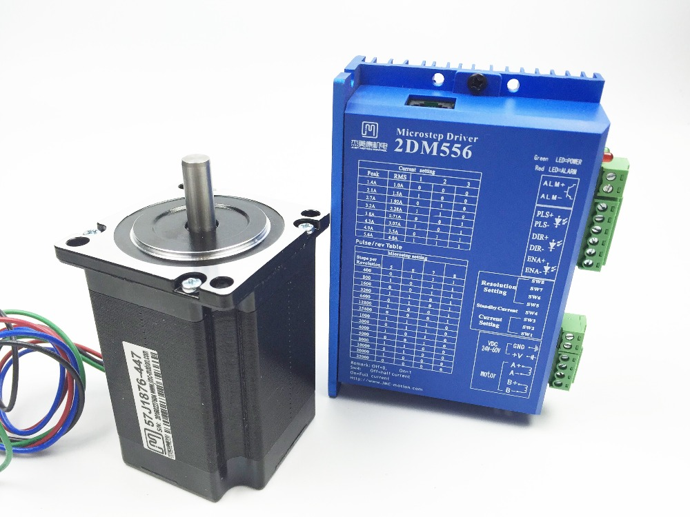 Free shipping JMC Hybrid stepping motor 2 phase Stepper Driver DM556 + 57J1876-447 2.2N.m Stepper Motor with 4 wire цена