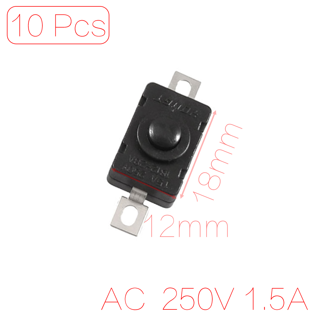 UXCELL Contact Type 10 Pcs 2 Terminal Spst Latching Push Button Switch Ac/ 250V 1.5A For Torch latching uxcell on off 2 position 3p latching power push button switch ac 220v 10a w cover latching